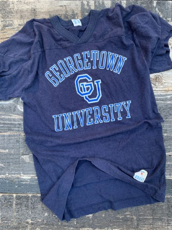 product details: RETRO GEORGETOWN UNIVERSITY FOOTBALL T-SHIRT CUT SLEEVES photo