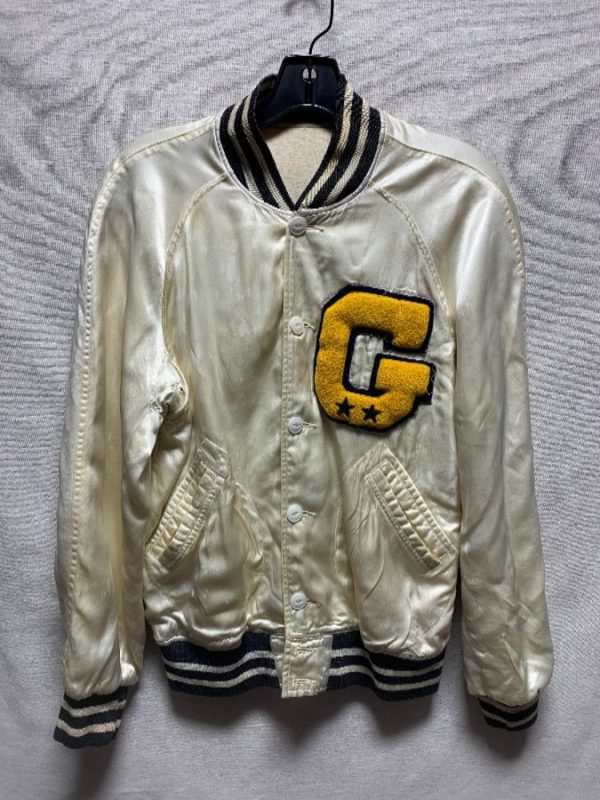 product details: 1950S-60S HEAVILY DISTRESSED SILKY ACETATE VARSITY STYLE LETTER JACKET STRIPED COLLAR & CUFFS AS-IS photo