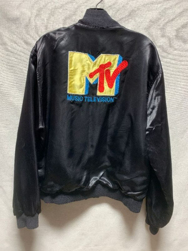 product details: VINTAGE EMBROIDERED MTV SATIN FULLY LINED ACETATE JACKET AS-IS photo