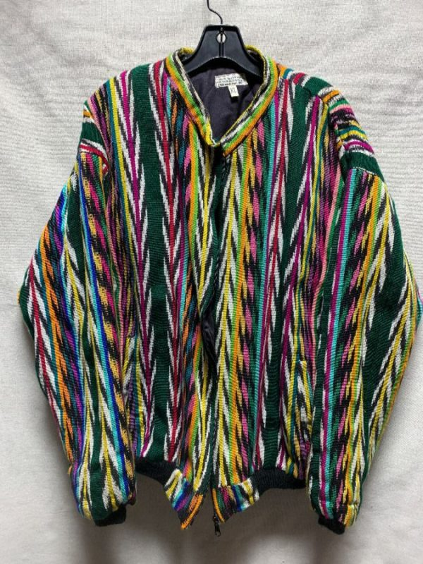product details: AWESOME WOVEN IKAT TRIBAL DESIGN GUATEMALAN ZIPUP JACKET photo