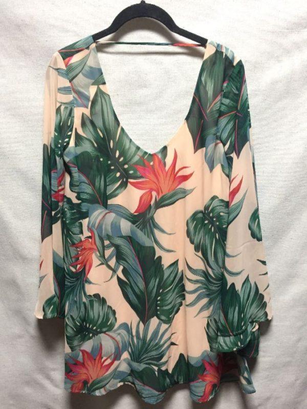 product details: LOW CUT HAWAIIAN BIRDS OF PARADISE PRINT MINI DRESS BELL SLEEVES photo
