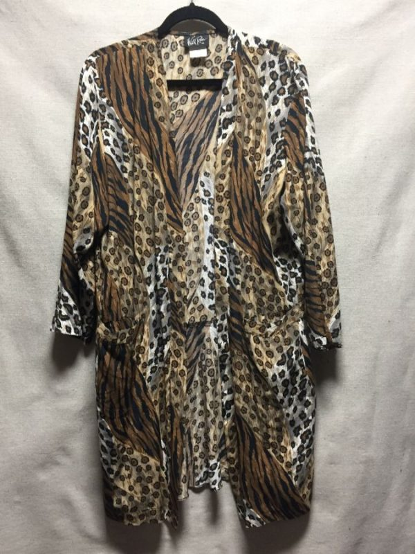 product details: 1980S-90S LEOPARD / TIGER PRINT KIMONO STYLE OPEN CARDIGAN photo