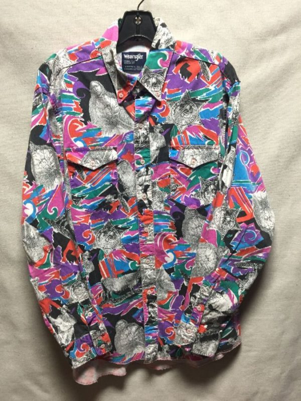 product details: 1990S BRIGHT HOPALONG CASSIDY ALL OVER PRINT COTTON BUTTON UP SHIRT photo