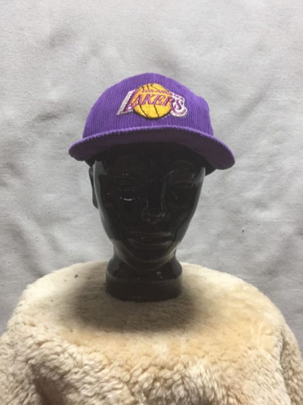 product details: EMBROIDERED CORDUROY CLASSIC LAKERS LOGO SNAPBACK HAT AS-IS photo