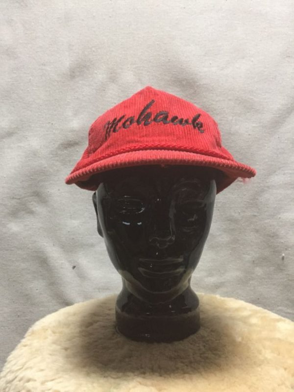 product details: VINTAGE MOHAWK EMBROIDERED CORDUROY HAT WITH BRAID ON THE BRIM AS-IS photo