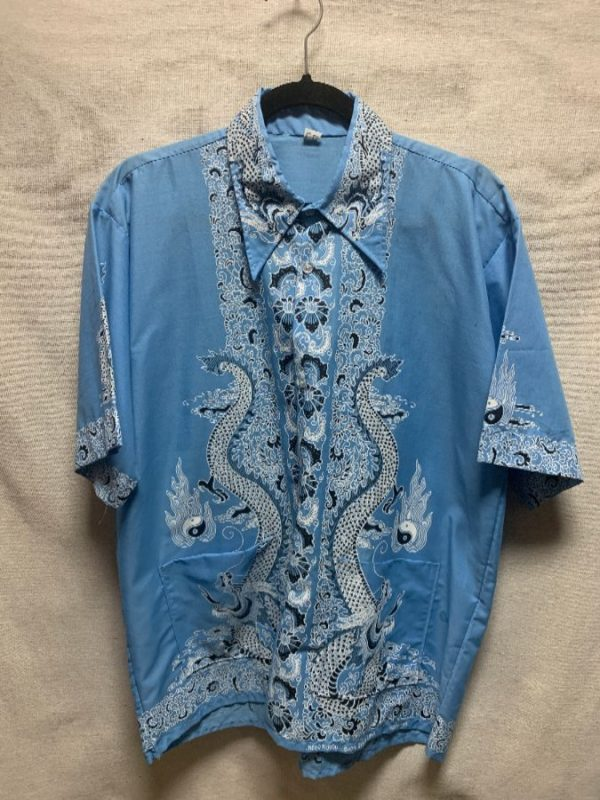 product details: 1970S JAPANESE INSPIRED DRAGON PRINT HAWAIIAN SHIRT FRONT WELT POCKETS AS-IS photo