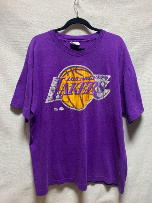 product details: NBA LOS ANGELES LAKERS HARDWOOD LOGO T-SHIRT SINGLE STITCH BOXY FIT AS-IS photo