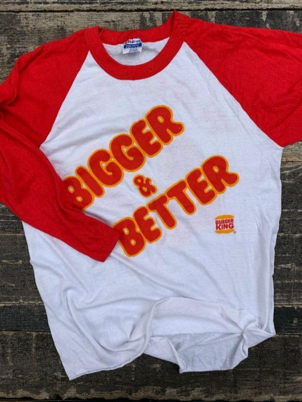 product details: BURGER KING BIGGER AND BETTER WHOPPER #42 RAGLAND BASEBALL T-SHIRT photo