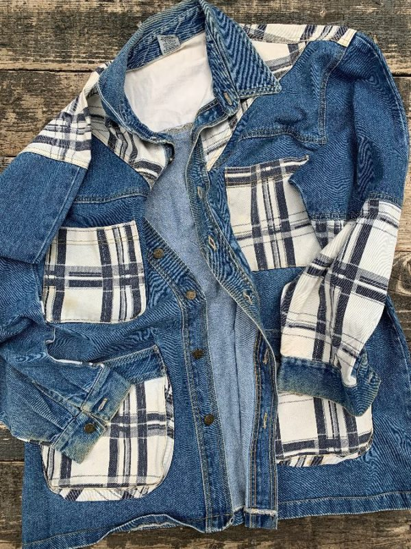 product details: OVERSIZED DENIM JACKET W/ FLANNEL PATCHWORK AS - IS photo