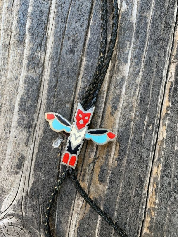 product details: COOL TOTEM POLE BOLO TIE WITH INLAY ENAMELED DETAIL photo