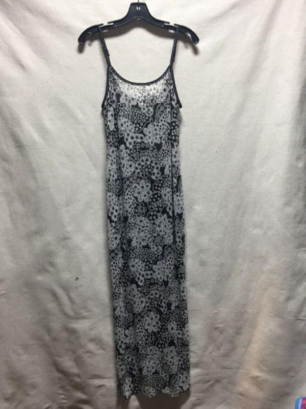 product details: MESH MAXI DRESS SPAGHETTI STRAP 90S GROOVY PAISLEY PRINT BACK SLIT photo