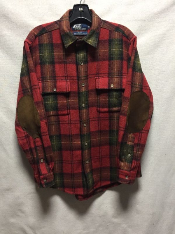 product details: POLO RALPH LAUREN BUTTON UP PLAID FLANNEL BUTTON UP SHIRT SUEDE ELBOW PATCHES AS-IS photo