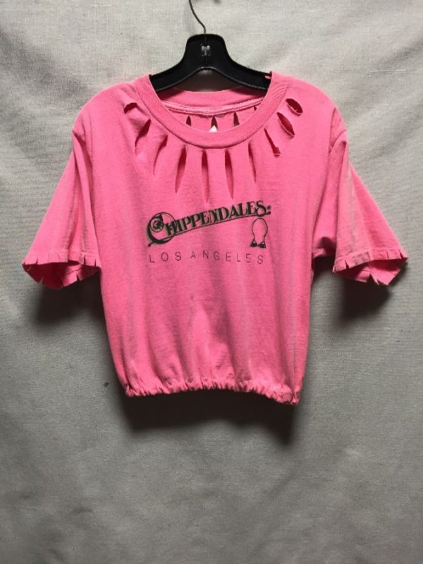 product details: CHIPENDALES LOS ANGELES DISTRESSED CROP TOP WITH ELASTIC HEM AS-IS photo