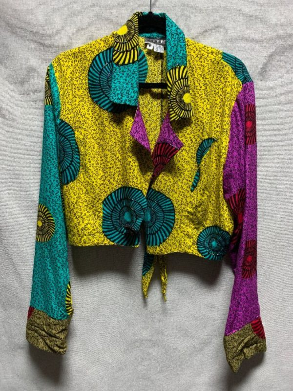 product details: FUNKY PATTERN CROPPED SHIRT W/ BEAD WORK photo