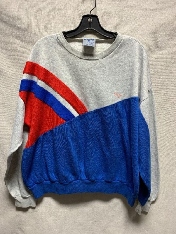 product details: RETRO COLORBLOCK PATCHWORK PULLOVER SWEATSHIRT AS- IS photo