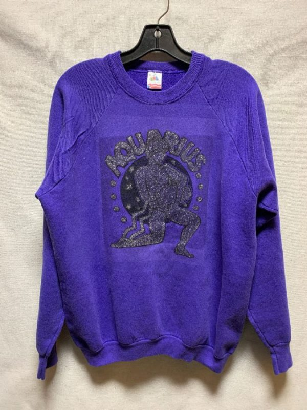 product details: PULLOVER CREWNECK AQUARIUS GLITTER HEAT TRANSFER DESIGN AS-IS photo