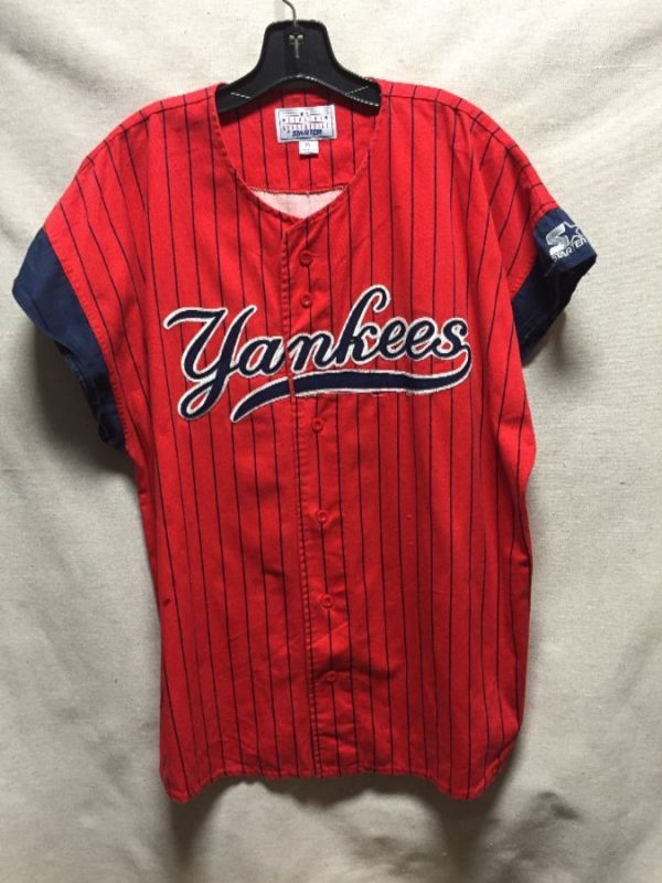 product details: SLEEVELESS EMBROIDERED NEW YORK YANKEES STARTER JERSEY 100% COTTON photo