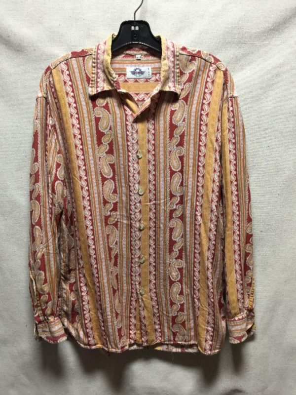 product details: VINTAGE PAISLEY BUTTON UP SHIRT COMBED COTTON photo