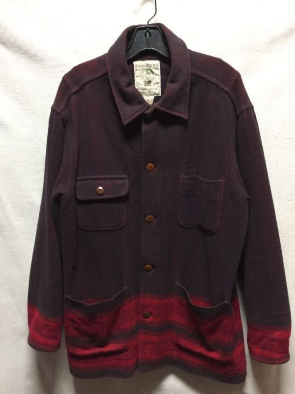 product details: VINTAGE 1980S BANANA REPUBLIC LONG HEAVY FLEECE SHIRT WITH STRIPE PATTERN ON THE BOTTOM photo