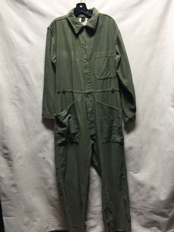 product details: VINTAGE 1960S VIETNAM ERA MILITARY COVERALL JUMPSUIT CROPPED BOTTOM photo