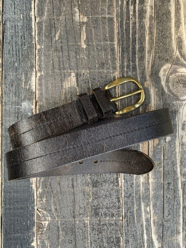 product details: THICK BROWN LEATHER BELT STITCHED MIDDLE SEAM SOLID BRASS HARDWARE photo