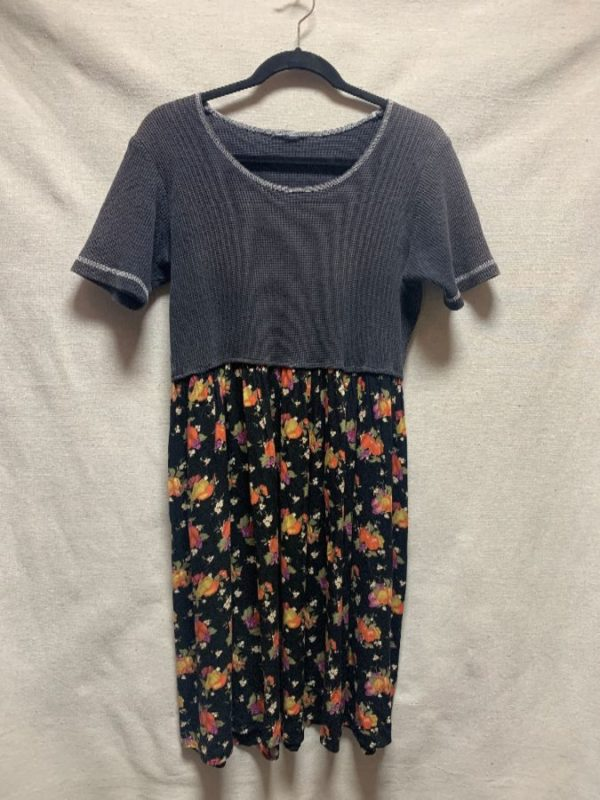 product details: RECONSTRUCTED THERMAL TOP & 90S FLORAL PRINT BABYDOLL DRESS AS-IS photo