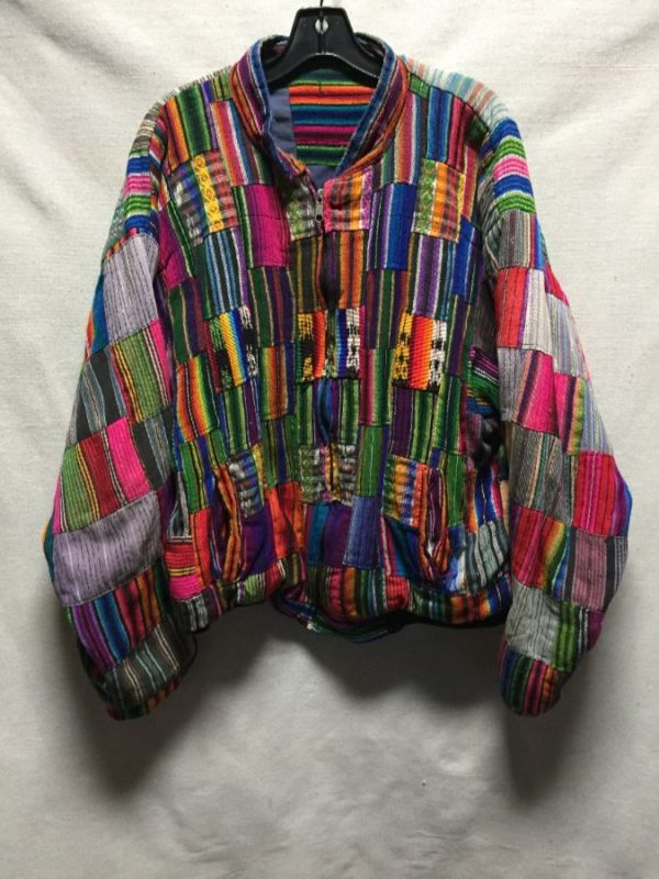 product details: MULTI COLORED QUILTED PATCHWORK WOVEN GUATEMALAN JACKET photo