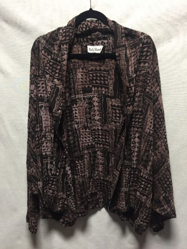 product details: OPEN CACOON CARDIGAN BATWING DOLMAN ARMS AZTEC PRINT photo