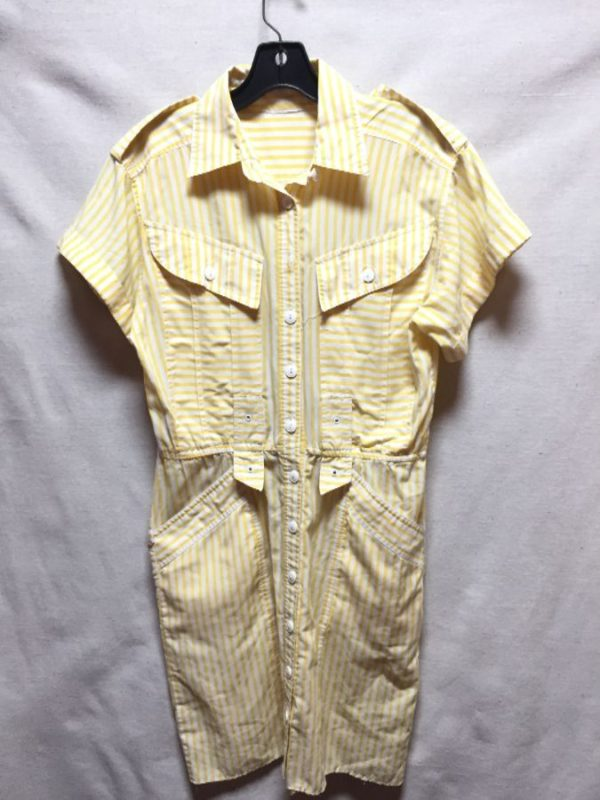 product details: ADORABLE 1980S STRIPED COLLARED & BUTTON DOWN DRESS WITH POCKETS photo