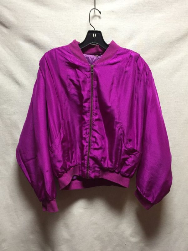 product details: CROPPED SILK PUFFY ZIPUP BOMBER JACKET COTTON CUFFS & COLLAR photo