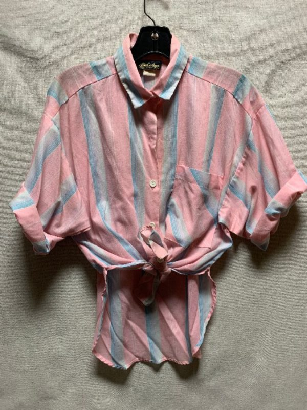 product details: 1980S VERTICAL STRIPED PASTEL HIGH CUT BUTTON UP SHIRT AS-IS photo