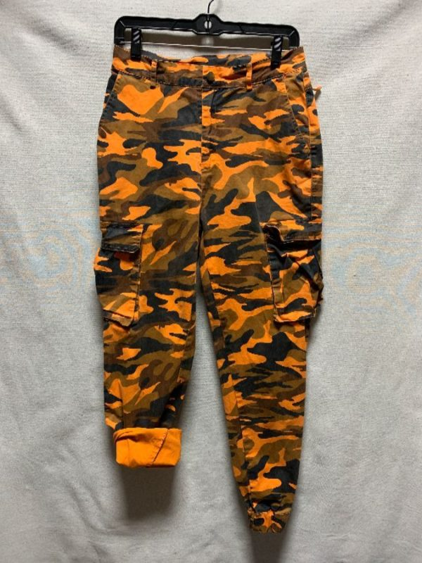 product details: TAPERED & STRETCH ORANGE HUNTING CAMOUFLAGE PRINT CARGO PANTS ELASTIC CUFFS photo