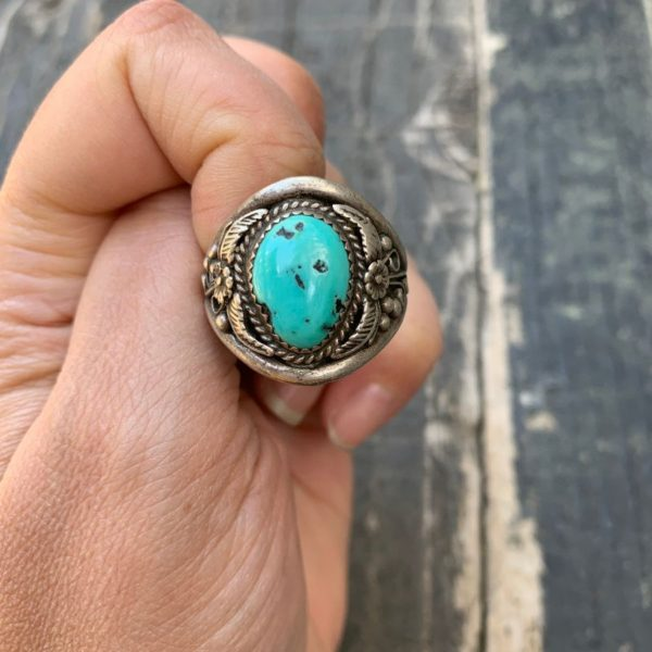 product details: STERLING SILVER & POLISHED TURQUOISE STONE RING FLORAL & FEATHER DESIGN photo