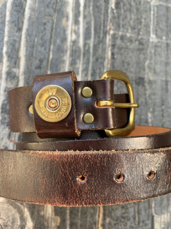 product details: LEATHER BELT BRASS HARDWARE WINCHESTER BULLET DETAIL photo