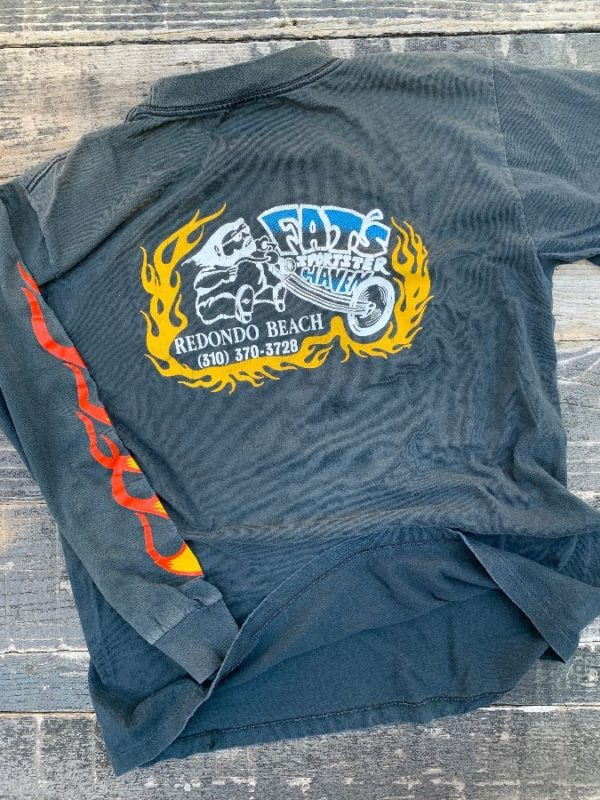 product details: RARE SUPER SOFT & THIN IN MEMORY OF FATS SPORTSTER HAVEN T-SHIRT WITH FLAME DESIGN ON SLEEVE photo