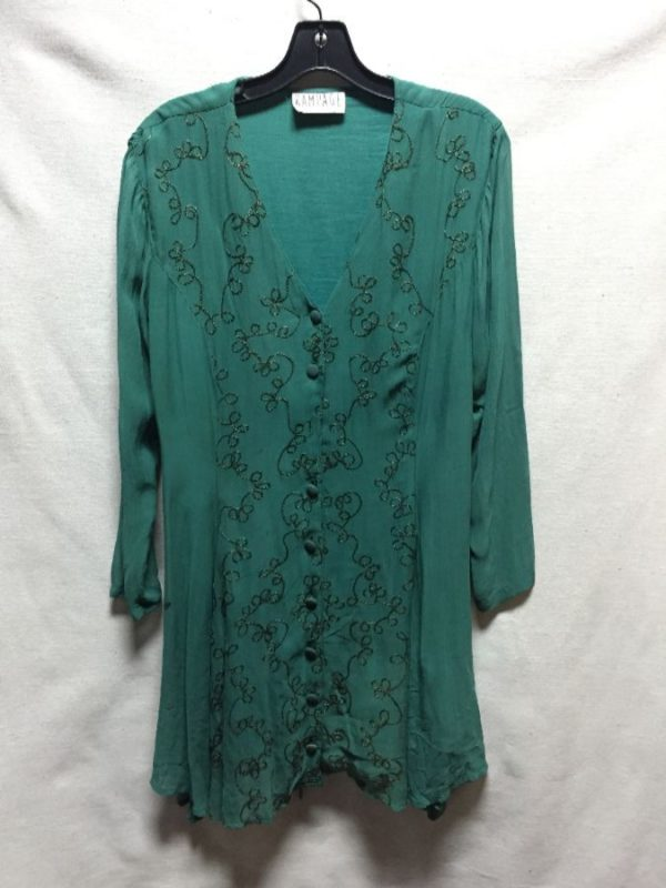 product details: SHORT BUTTON DOWN 1990S EMBROIDERED LONG SLEEVE DRESS SHEER SLEEVES photo