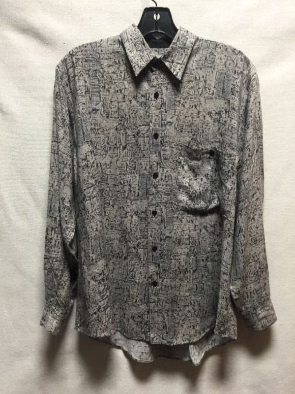 product details: 1990S LINE ART PRINT RAYON SHIRT AS-IS photo