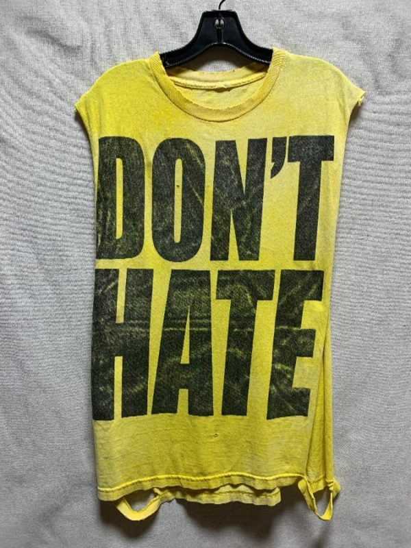 product details: RAD CUT UP & DESTROYED TSHIRT TANK TOP OPEN SIDES LARGE DON\T HATE GRAPHIC photo