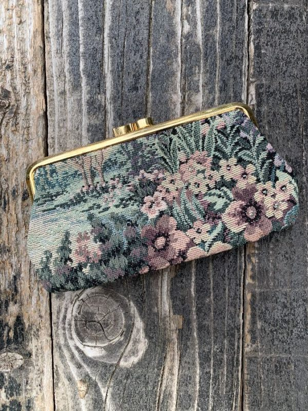 product details: FRENCH FLORAL TAPESTRY DESIGN CLUTCH PURSE CLAMSHELL CLOSURE photo