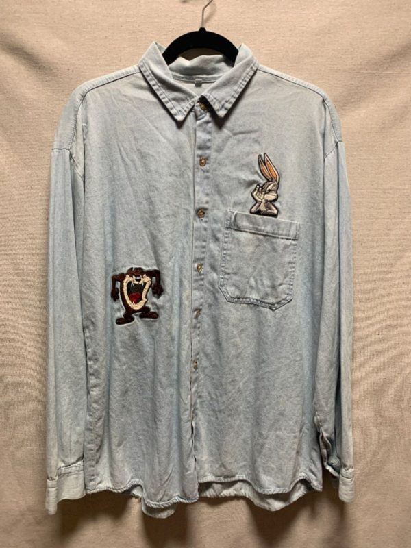 product details: LOONEY TUNES CHAMBRAY SHIRT W/ EMBROIDERED PATCHES BUGS AND TAZ photo
