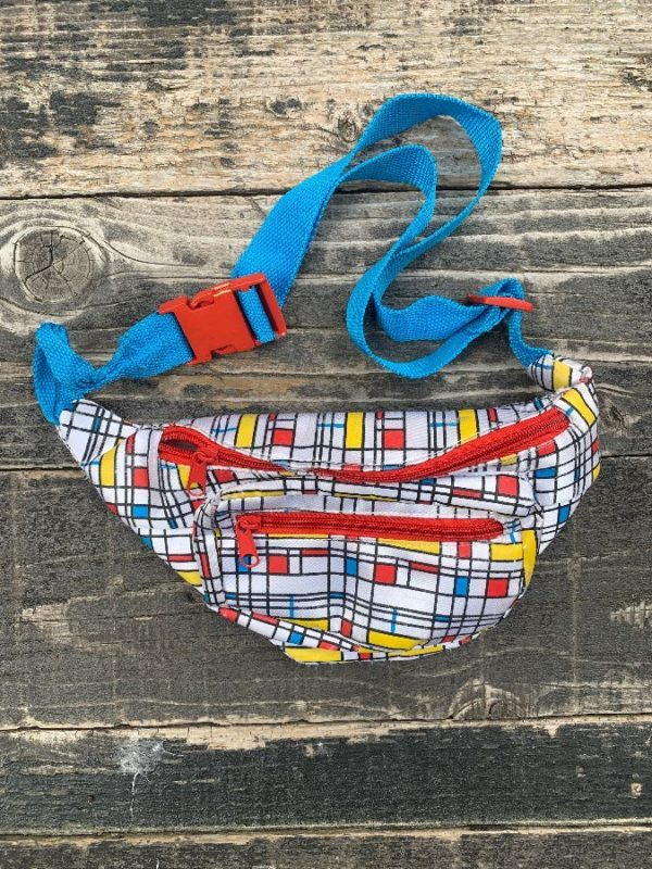 product details: VINTAGE 1980S MONDRIAN PRINT FANNY PACK MULTIPLE ZIPPERS photo