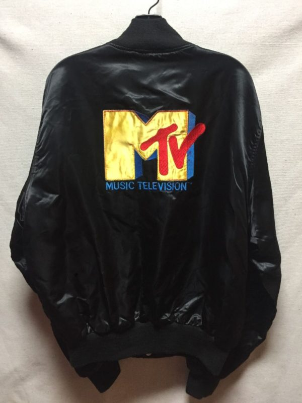 product details: VINTAGE SATIN MTV BOMBER JACKET WITH EMBROIDERED LOGO ON THE BACK AS-IS photo