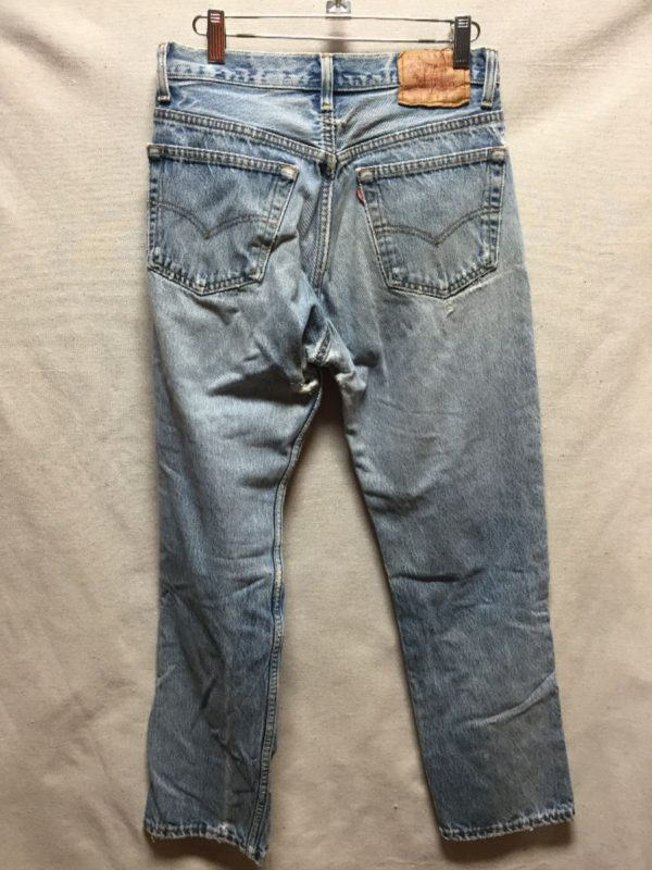 product details: AMAZING & PERFECTLY DISTRESSED LEVIS 501 DENIM JEANS MADE IN USA photo