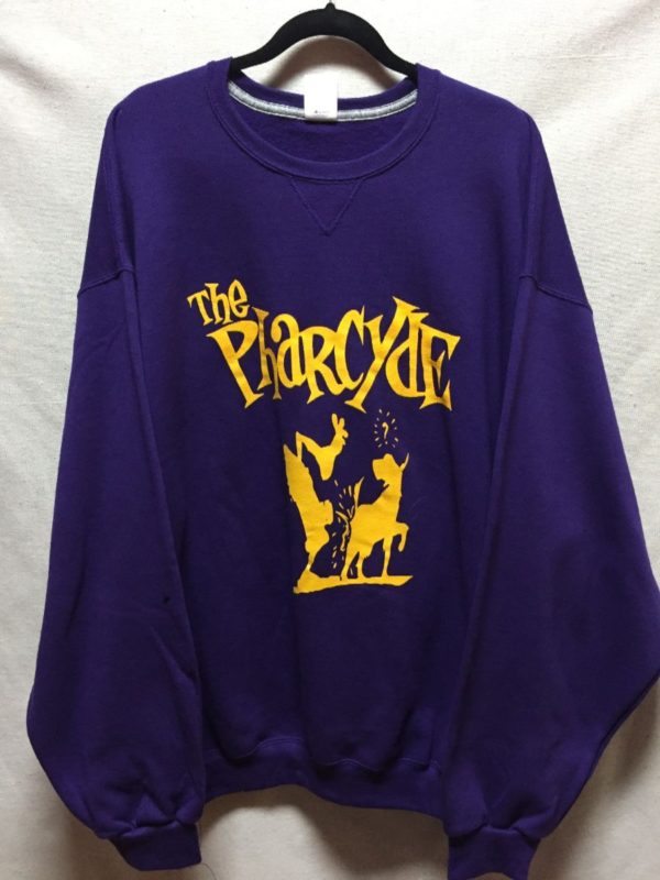 product details: THE PHARCYDE OVERSIZED COTTON CREWNECK SWEATSHIRT LAKERS COLORS photo