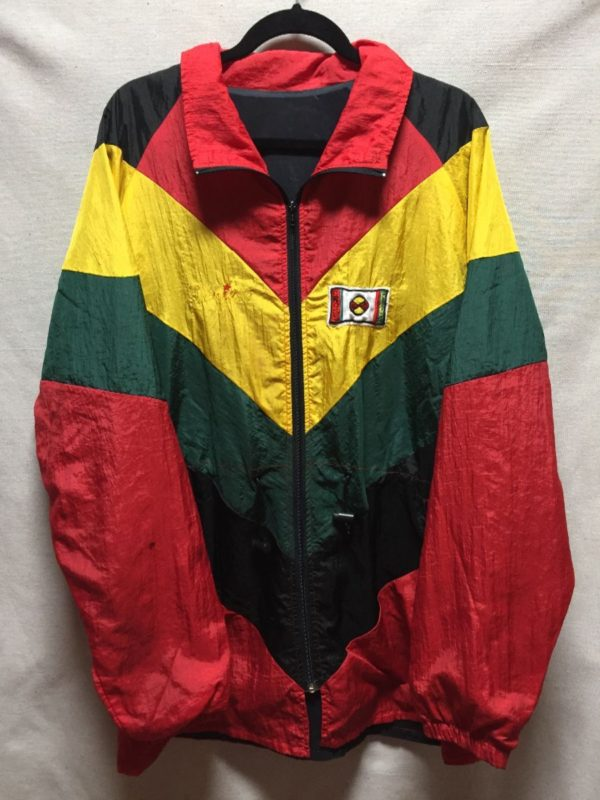 product details: 1980S RASTA COLOR BLOCK CROSS COLOURS WINDBREAKER JACKET photo