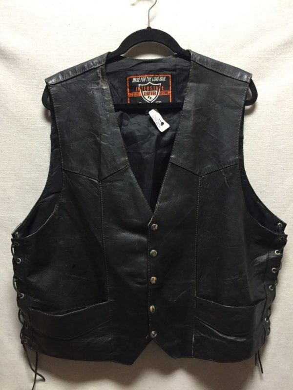 product details: OVERSIZED LEATHER MOTORCYCLE VEST LACEUP SIDES AS- IS photo