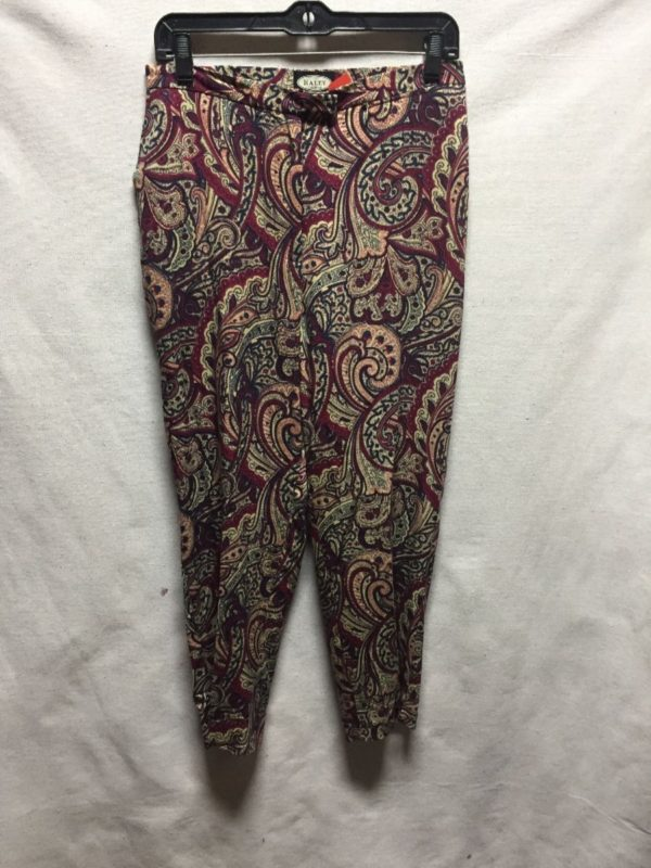 product details: PAISLEY PRINT RAYON TROUSERS PANTS TAPERED LEG photo