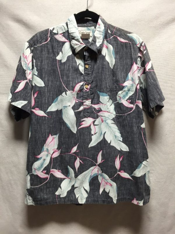 product details: WASHED OUT HAWAIIAN FLORAL PRINT HALF  BUTTON DOWN SHIRT- AS IS photo