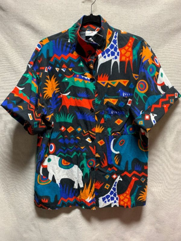 product details: AMAZING 1980S-90S ALLOVER FUNKY ANIMAL PRINTED COTTON SHIRT photo