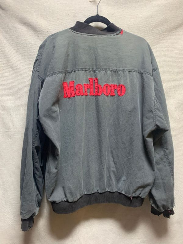 product details: SUPER RAD & DISTRESSED EMBROIDERED MARLBORO REVERSIBLE JACKET AS-IS photo